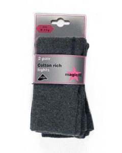 Grey Cotton Soft Tights Twinpack